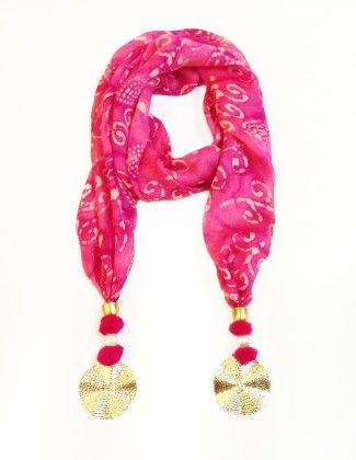 Satin Dark Pink Printed Jewelled Scarf - Lime