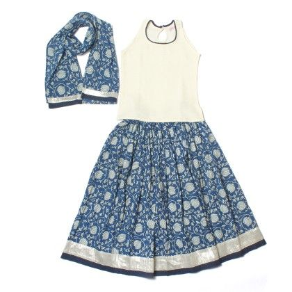 Indigo Cotton Lehenga With Jacquard White Top And Cotton Dupatta - Amber