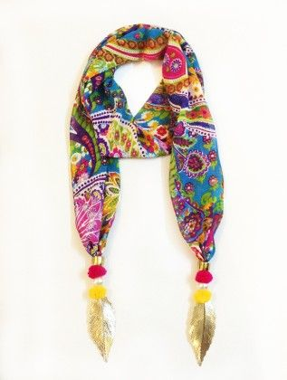 Georgette Paisley Print Jewelled Scarf - Lime