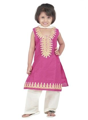 Embroidered Cotton Patiyala Suit Pink - BownBee