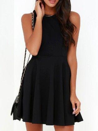 Black  Sleeveless Skater Dress - She In