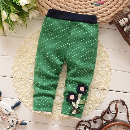 Floral Applique Baby Legging Warm Fleece Thick Liner Bottom- Green - Jazzy Snazzy