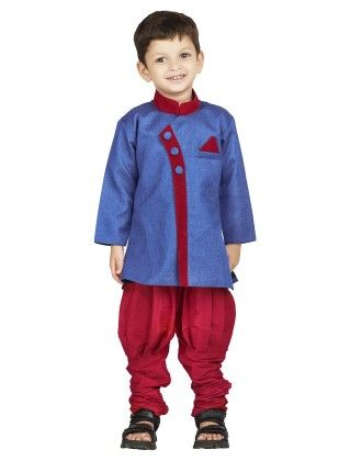 Blue Red Sherwani Breeches Suit - BownBee