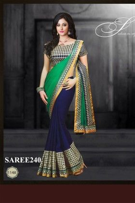 Green And Blue Designer Saree - Fashion Fiesta
