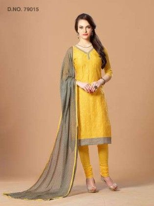 Traditional Resham Embroidery Work With Contrast Dupatta - Yellow - Touch Trends Ethnic