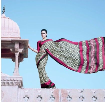Vintage Black And Pink Printed Saree - Fashion Fiesta
