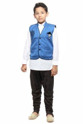 Kurta, Waistcoat And Pyjama Set - Blue - Kids On Board
