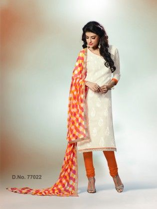 Sober Resham Embroidery Work With Crosia Lace Off White - Touch Trends Ethnic