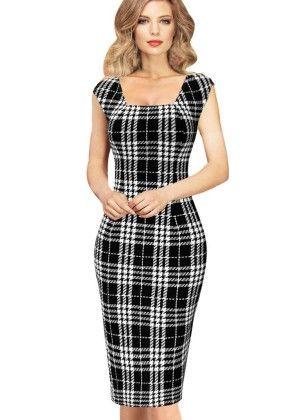 Summer Elegant Tartan Square Neck Wear To Work Pencil Dress - White/black - VfEmage
