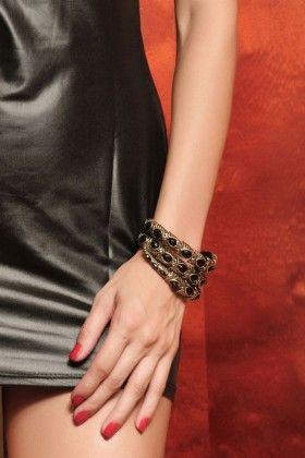 Black Stone Cufflet Bangle - Enigma