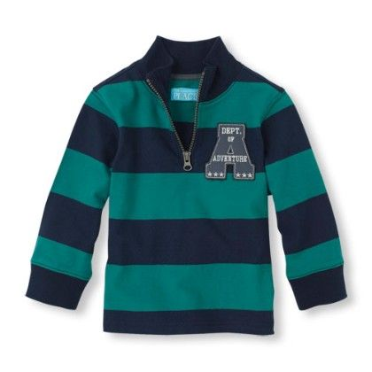 Long Sleeve Striped Mock Zip Pullover - Dk Pine - The Children's Place