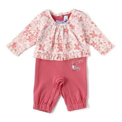 Newborn Girl Romper -dk.peach & Print Peach - WWW
