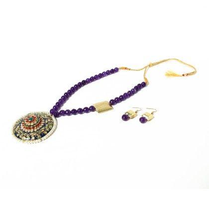 Huge Pendant Purple Necklace With Ear Rings - Latitude - The Design Studio