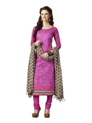 Magenta Embroideried Dress Material - Touch Trends Ethnic - 190014