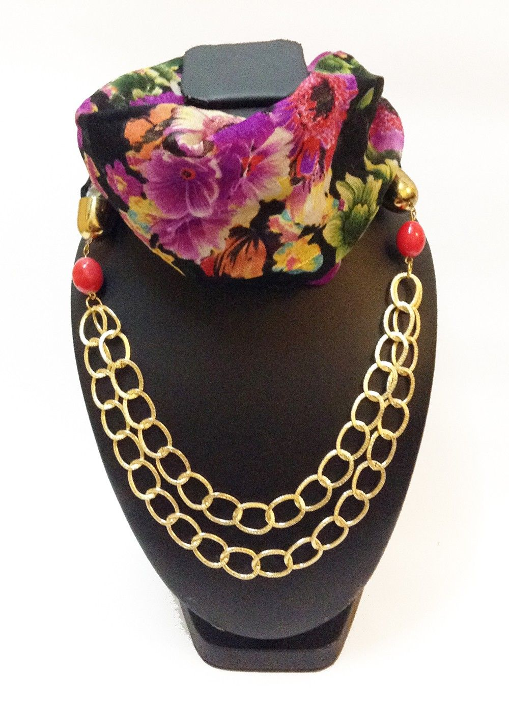 Raw Silk Black Floral Printed Necklace Scarf - Lime
