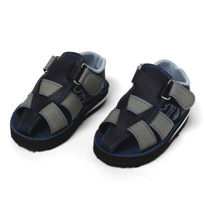 Woven 2 Colours Open Toe Welcro Strap Blue Grey - SC Baby