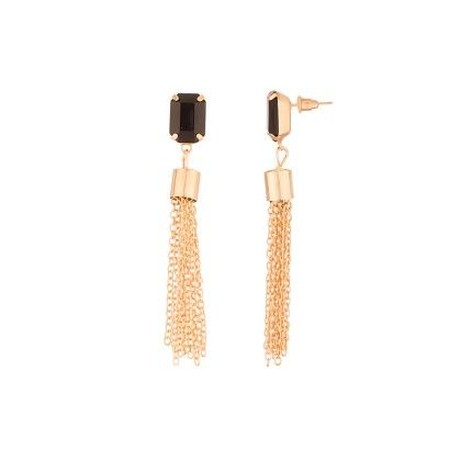 Voylla Black Stone Embedded Gold Toned Earring Pair