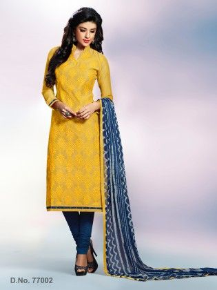 All Over Multi Resham Thread Work With Printed Dupatta Yellow - Touch Trends Ethnic