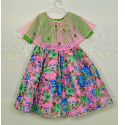 Pink & Green Floral Print Lehenga - Little Emporio ~ The Cutique