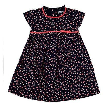 Ditsy Print Dress With Stylized Empire Line And Cap Sleeve - Navy - Nauti Nati