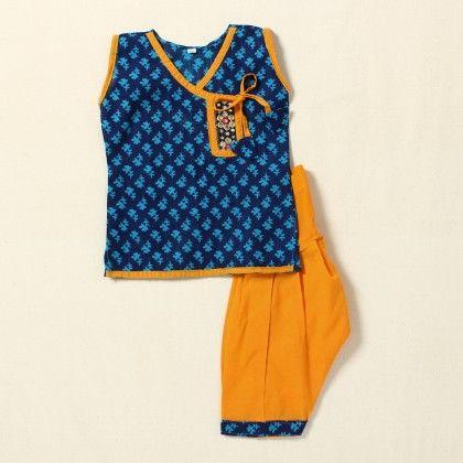 Girls Suit Printed(blue-yellow) - Pocket Fashion
