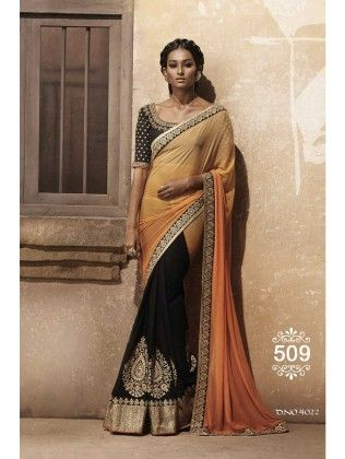 Black And Beige Designer Saree - Fashion Fiesta