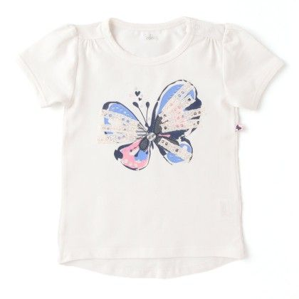 White Top Butterfly Print Top - Babeez