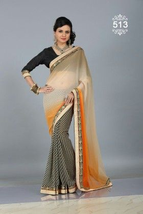 Checkered Designer Saree - Fashion Fiesta