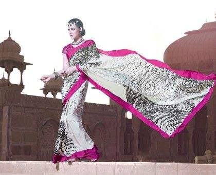 White Printed Saree - Fashion Fiesta