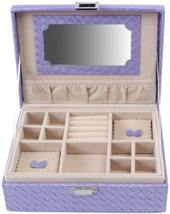 Uberlyfe Travel Friendly Candy Purple Jewellery Box With Cross Weave Pattern - S