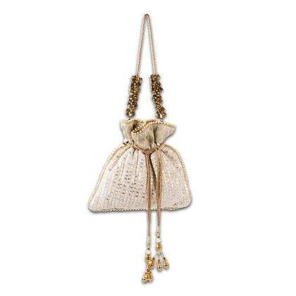 White Sequin Potli Hand Bag - Arancia