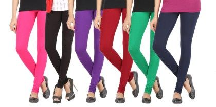 Elance Combo Leggings - Rani Pink,black,violet,maroon,chilly Green,navy