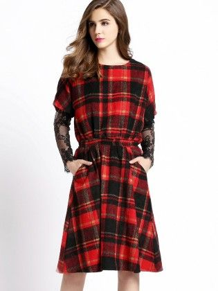 Red Black Round Neck Plaid Tie-waist Dress - She In