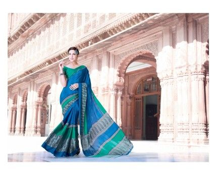 Vintage Classic Blue Saree - Fashion Fiesta