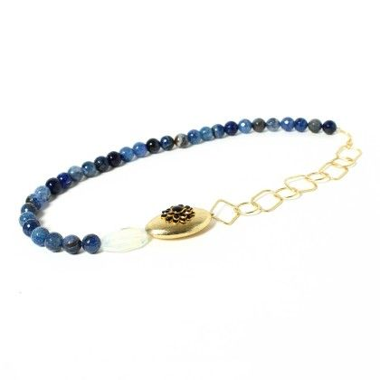 Shaded Agate Stone Necklace With Stylish Rings - Latitude - The Design Studio