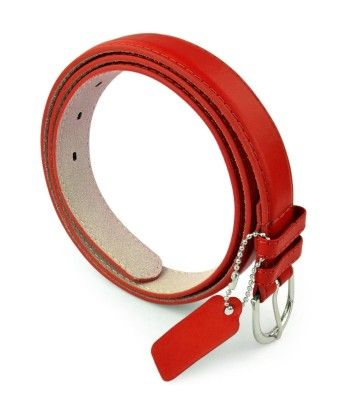 Leather Belt With Metal Buckle - Red - Belle Donne