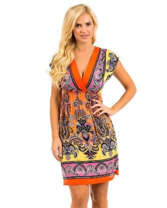 Rays Printed Paisley Dress-orange - Xcel Couture