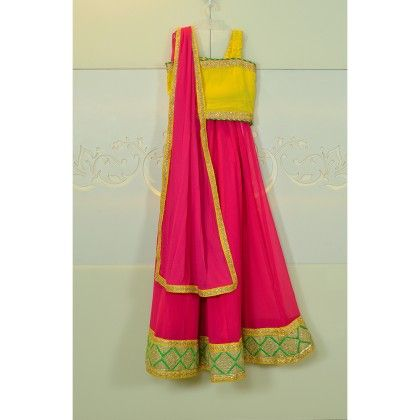 Pink & Yellow Lehenga Choli With A Hint Of Green - Little Emporio ~ The Cutique