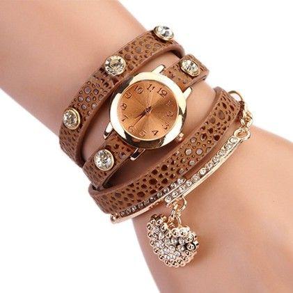 Rhinstone Faux Leather Wrap Bracelet Quartz Watch With Heart Pendant - Brown - Broadfashion