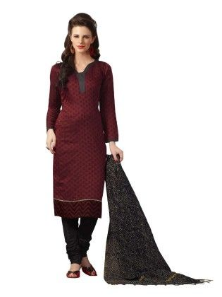 Maroon Embroideried Dress Material - Touch Trends Ethnic