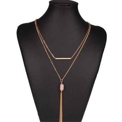 Double Tassel Necklace Gold Plated Long Design Gift Necklace - Pink - Beautyshow