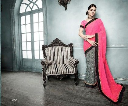 Fashionista All Over Printed Pink Black Saree - Fashion Fiesta