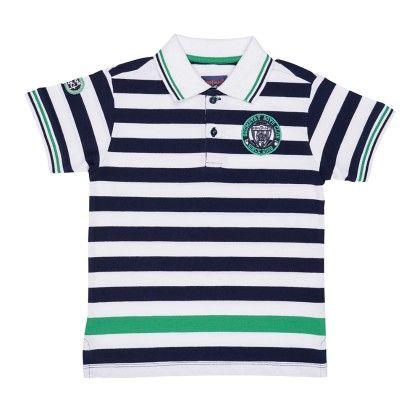 Engineered Stripe Jersey Polo T-shirt With Badge- Multi - Nauti Nati