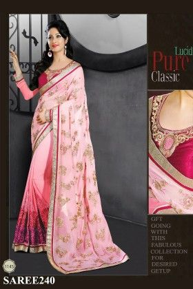Pink Designer Saree - Fashion Fiesta