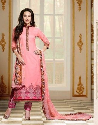 Pink Plazzo Style Dress Material - Fashion Fiesta