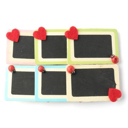 Assorted Black Board Wooden Paper Clips - Set Of 6 Clips - Diya - 185291