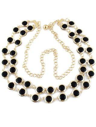 Black Gemstone Gold Chain Belt - She In