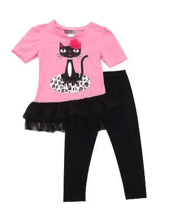 Cute Cat Print Top And Leggings Set-  Pink - Baby Ziggles