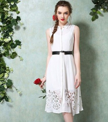 Cutwork Shirt Dress - Drape In Vogue