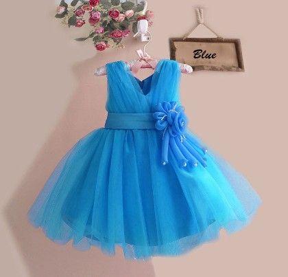 Beautiful Blue Floral Applique Dress - Mia's Flair
